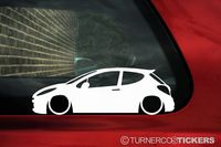 2x Lowered car outline stickers - Peugeot 207, 3-door gti